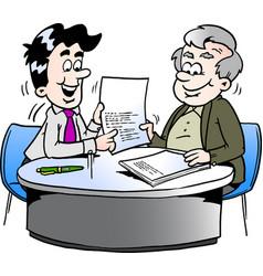 Cartoon of an business man and a older man having vector