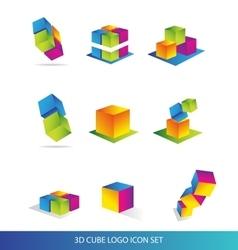 Cube 3d logo icon set colors vector image vector image