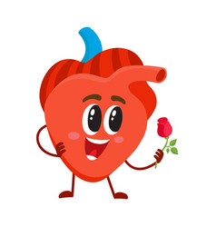 Cute and funny smiling human heart character vector