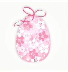 Cute easter card with floral egg with japanese vector