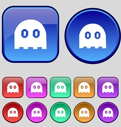 Ghost icon sign a set of twelve vintage buttons vector