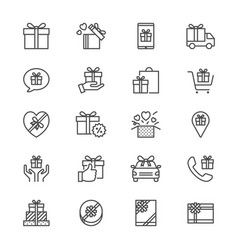 Gift thin icons vector