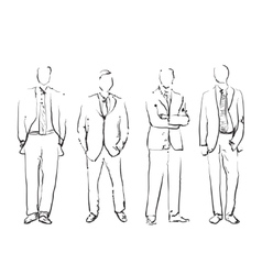 Group of hand drawn business people vector