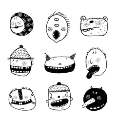 Hand drawn doodle cartoon strange faces with teeth vector
