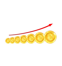 infographic uptrend line arrow for bitcoin sign on vector image