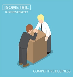 Isometric businessman doing arm wrestling vector