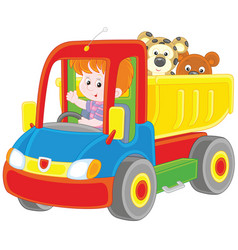 little boy in a toy truck vector image vector image