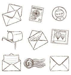 mailing icons - sketch style vector image vector image