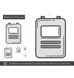 Medical records line icon vector