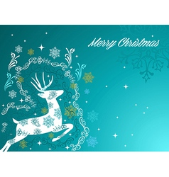 Merry christmas beautiful vintage reindeer vector