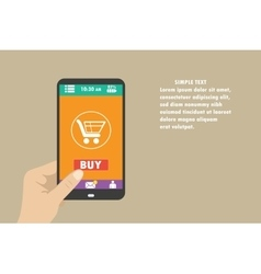 mobile shopping button flat design vector image vector image