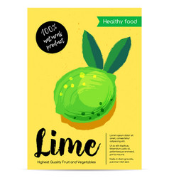 modern healthy food poster with lime vector image vector image