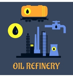 Oil refinery flat industrial icons vector