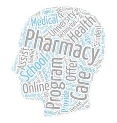 Pharmacy schools the short list text background vector