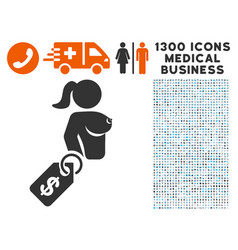 Prostitute price tag icon with 1300 medical vector
