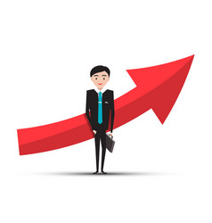 red arrow and businessman in suit on white vector image vector image