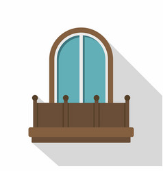 Retro balcony with an arched window icon vector