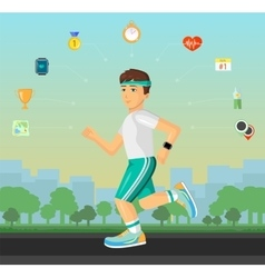 Runner men running on the street with set of flat vector image