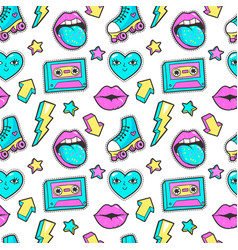 Seamless pattern in cartoon 80s-90s comic style vector
