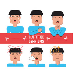 Set man heart attack symptoms vector