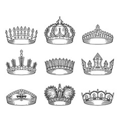 set of isolated sketch for crown or tiara vector image vector image
