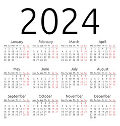Simple calendar 2024 monday vector