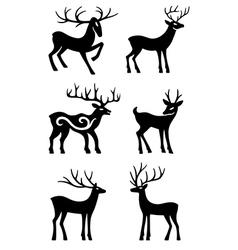 Six deer standing silhouettes vector