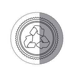 Sticker monochrome of circular frame with vector