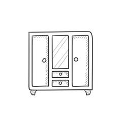 Wardrobe with mirror sketch icon vector image vector image