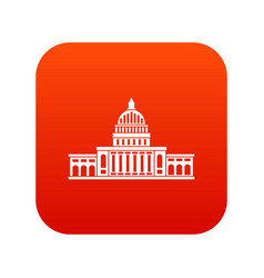 white house icon digital red vector image