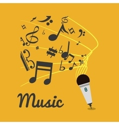 Music note microphone sound vector