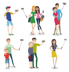 Set of people making self photo using a smartphone vector image