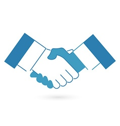 Blue handshake icon flat style vector
