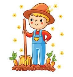 A young farmer in a garden with a carrot vector