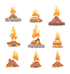 Cartoon types of tourist tcampfires set of vector