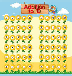 Addition to ten chart with sunflowers background vector