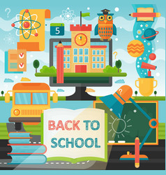Back to school education banner with book bus vector