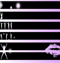 Black grunge strips dancers vector
