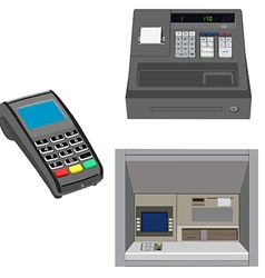 Atm pos and cash register vector