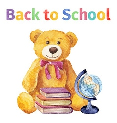 Teddy bear with books and globe back to school vector