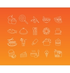 Food mono line icon set vector
