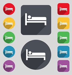 Hotel icon sign a set of 12 colored buttons and a vector