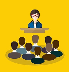 Business woman makes a speech on the podium vector