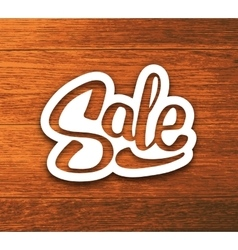 Vintage sale banner sticker on wood background vector
