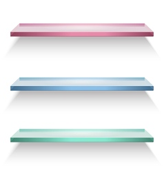 Red blue and green glass shelves vector