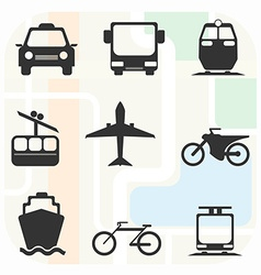 Transportation big black and white icon set vector