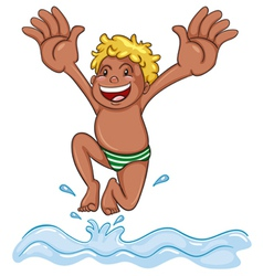 a boy diving into water vector image vector image