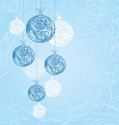 Blue decorative christmas decorations vector image vector image
