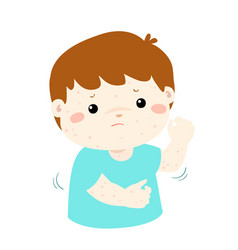 Boy scratching itching rash on his body vector