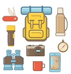 Camping and Hiking equipment Elements vector image vector image